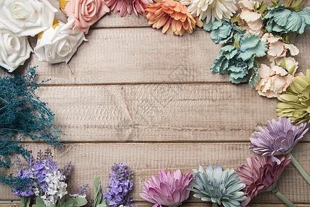 复古背景鲜花木板设计素材图片