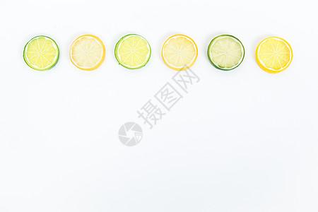 清新留白柠檬片素材图片
