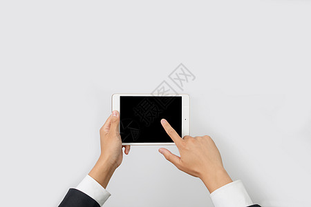手持横屏平板电脑操作演示图片