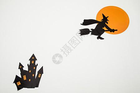 万圣节飞扫把女巫背景图片