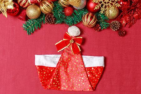 圣诞节红喜装扮饰品背景图片