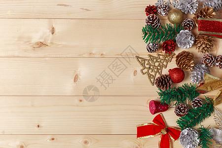圣诞节装饰品木板装扮背景图片