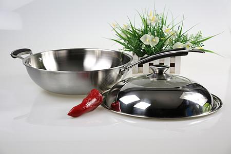 不锈钢锅具静物平铺图片