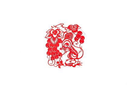 新春十二生肖中国剪纸摆拍图片