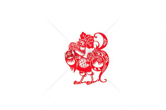 新春十二生肖中国剪纸鸡图片