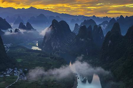 漓江湾的朝霞图片