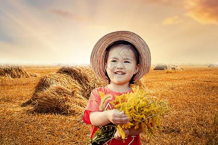 秋天金色田野中的孩子图片