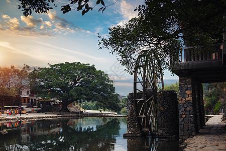 黄龙溪古镇晚霞图片