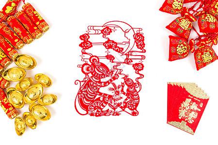 中国春节传统饰品排列摆拍图片