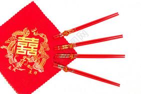 结婚嫁妆红布筷子背景图片