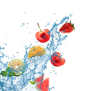 新鲜水果下降水飞溅图片