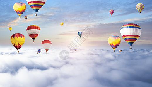 云朵上的热气球图片