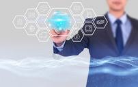 商务科技手指海报背景图片