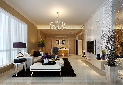 美丽的现代风格客厅效果图图片