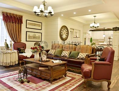 古典风格客厅家具沙发茶几吊灯靠枕靠垫图片