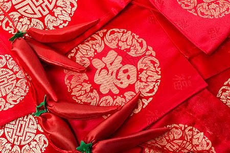 红喜春节福气福袋排列摆拍图片