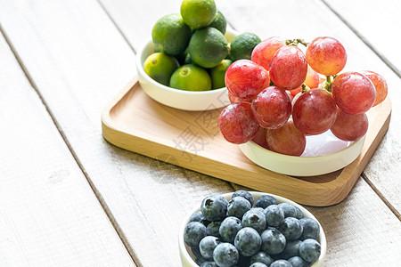 蓝莓提子金桔水果组合图片