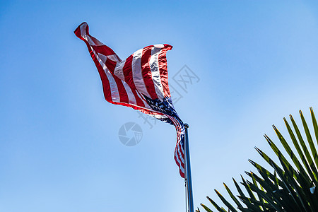 蓝天下飘扬的美国国旗图片