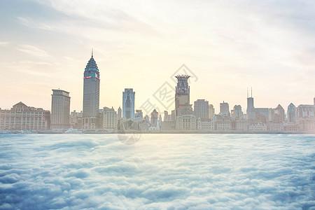云上的城市背景图片