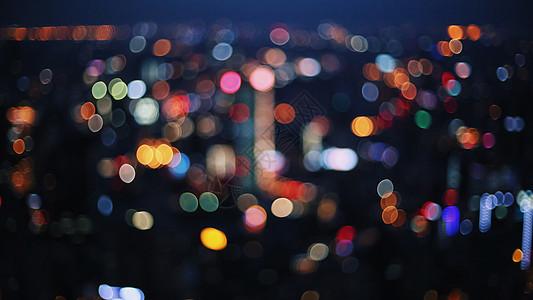 城市夜景灯光虚化背景图片