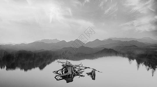 黑白山水图片