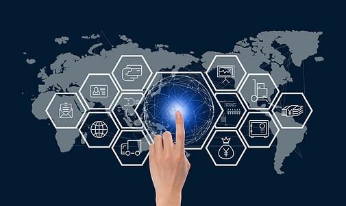 手触碰全球网络连接图片