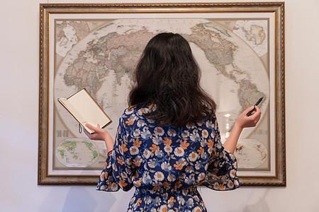 文艺女人地图旅游准备图片