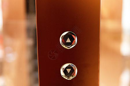 高档商场直梯按钮特写图片