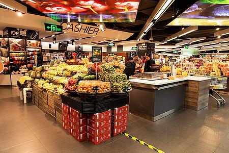 高档超市水果摊位展示图片