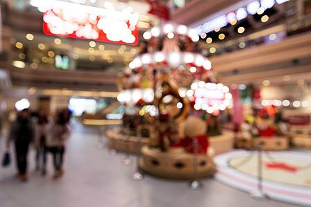城市商场圣诞场景虚化图片