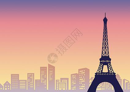 埃菲尔铁塔的剪影图片