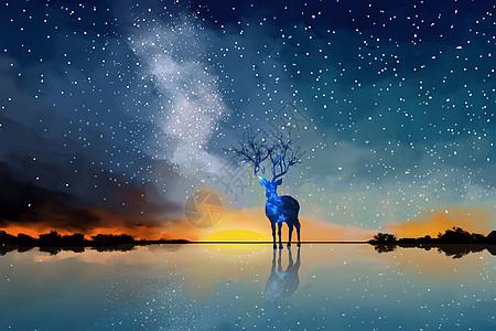 星空麋鹿图片