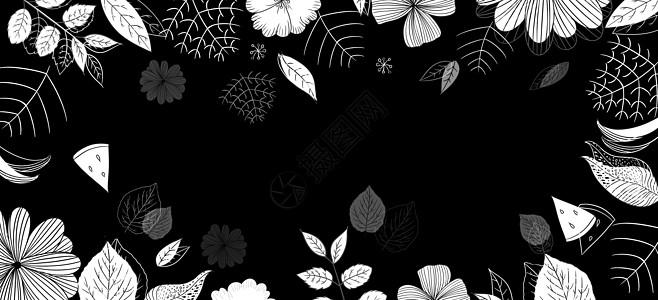 大气黑色花朵边框背景图片