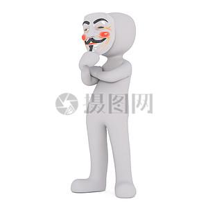 用面具挡住脸的卡通人物高清图片