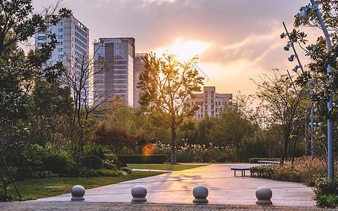 城市建筑夕阳西下图片