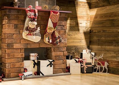 圣诞室内壁炉装饰图片