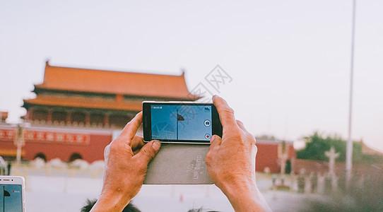天安门广场升国旗拍摄图片