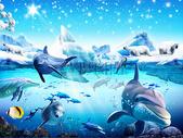 爱丽舍3D海豚背景墙图片