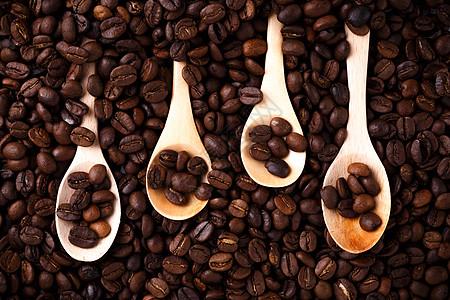 能做背景素材的咖啡豆和木勺图片