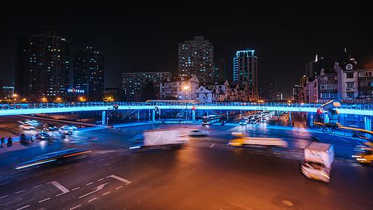 城市车流夜景慢门拍摄图片
