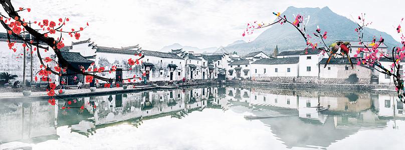 中国风春天水墨桃花江南水榭楼台图片