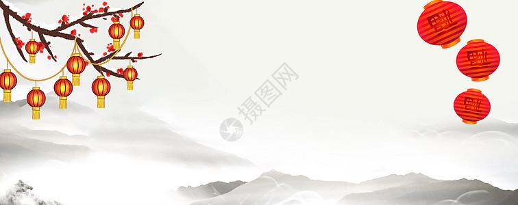 中国风梅花灯笼背景图片