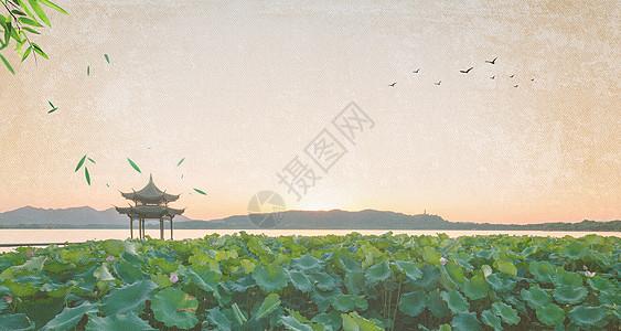 中国风山水亭子背景图片