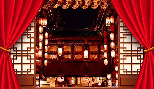 红色新年古典背景图片