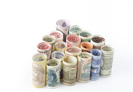 一卷一卷的外币钞票图片