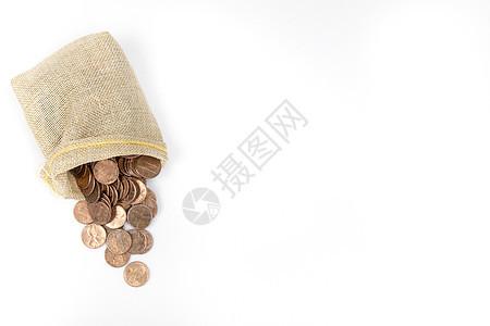 装在麻袋里的硬币金币图片