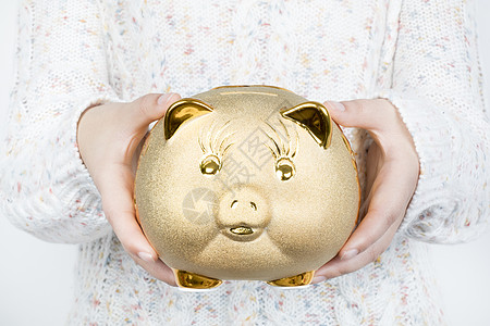 手捧金猪储蓄罐图片