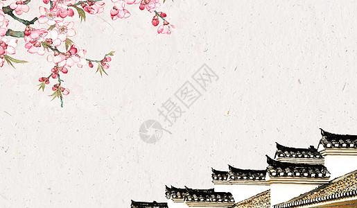 中国风纸灯笼和屋檐图片