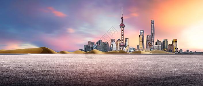 城市和马路背景图片