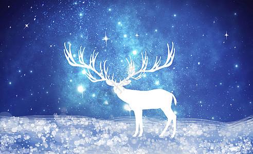 星空下的小鹿圣诞背景图片